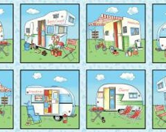 """Henry Glass - Happy Campers - Blue Camper's Block 1329-11 18"""" Panel  Happy Camper   Cotton Woven Fabrics"""