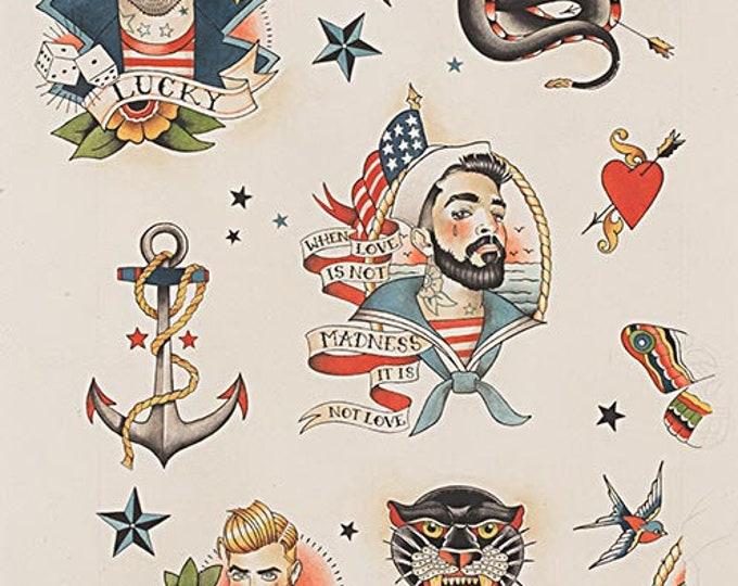 Alexander Henry Fabric - Anchors Away - Tea - Cotton Woven Fabric