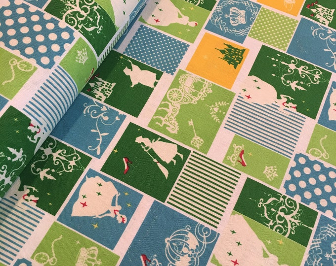 LECIEN - Princess Green and Blue Blocks Lightweight Cotton Canvas One Yard Increments