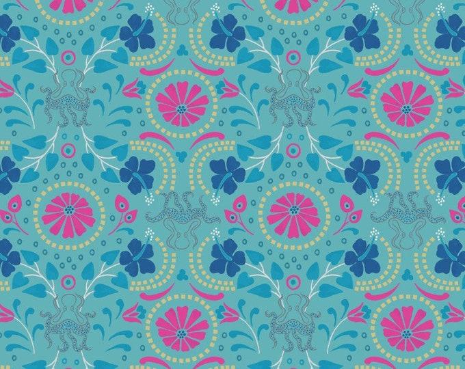 Lews & Irene Fabrics - Lindos - Aqua with Gold Taverna A270.2 Cotton Woven Fabric