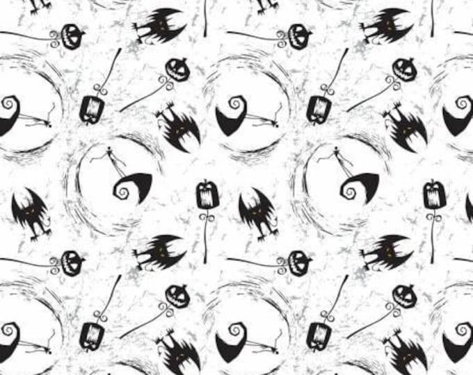 Nightmare Before Christmas, On the Hill White Jack Skellington Cotton Woven by Camelot Fabrics