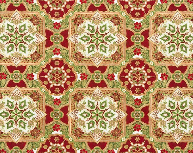 Robert Kaufman Fabric - Holiday Flourish - Holiday Poinsettia w/Metallic 18in Panel - APTM-17335-223 -  Metallic Cotton Woven Fabric