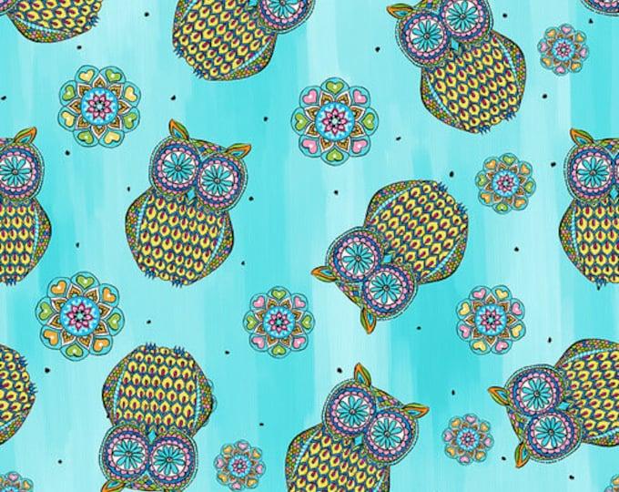 Blank Quilting - Mandala Tango - Blue Owls #9657-70 Cotton Woven Fabric