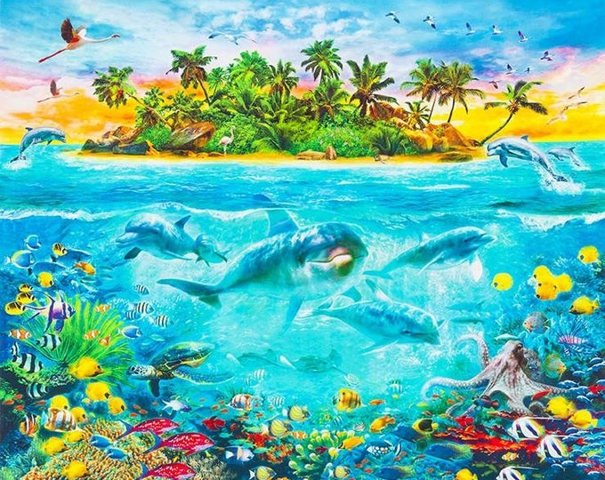 CLEARANCE -      Paradise Tropical dolphins and island digital cotton panel fabric 36 inches -