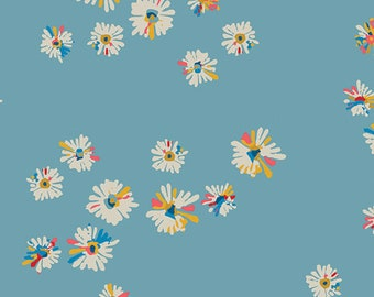 CLEARANCE - Art Gallery Fabric - Sun Kissed by Maureen Cracknell - Sky Hazy Daisies 94301 Cotton Woven Fabric - Priced per Yard