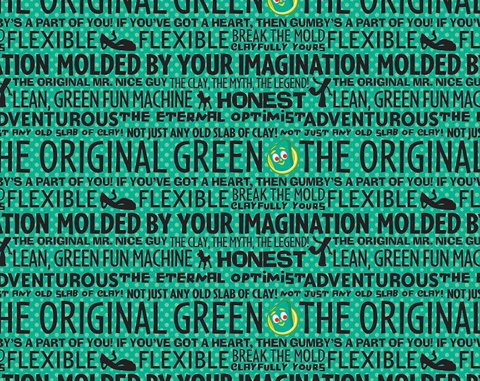 Riley Blake Fabrics - Licensed Gumby & Pokey - Gumby and Pokey Green Words cotton woven fabric