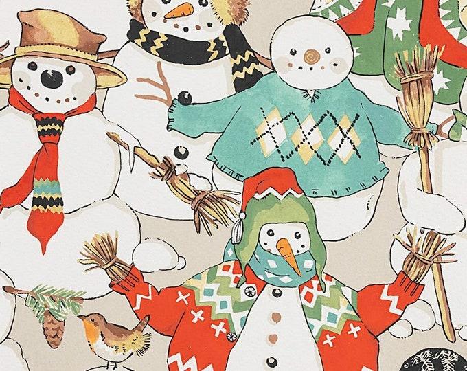 Alexander Henry Fabrics - Christmas Time - Stone Snow Friends #147f - Cotton Woven Fabric