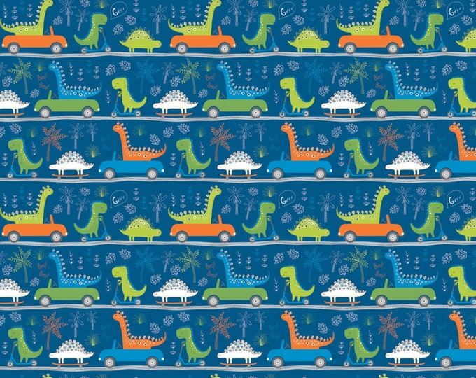 Camelot Fabrics - Roarsome - Dark Blue Dinosaurs on the Go Cotton Woven Fabric # 21180403-2