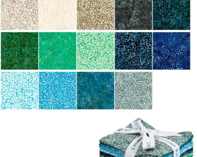 "Ketan Batik Mixer Shades Of Dark Fabric - Bundle of 20 Fat Quarters  (18"" x 22"")  - Cotton Woven Fabric"