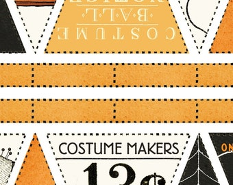 """Riley Blake - Costume Makers Ball by Janet Wecker-Frisch - Bunting Panel 24"""" X 44"""" Orange #P8362R-ORANG Cotton Woven Fabric"""