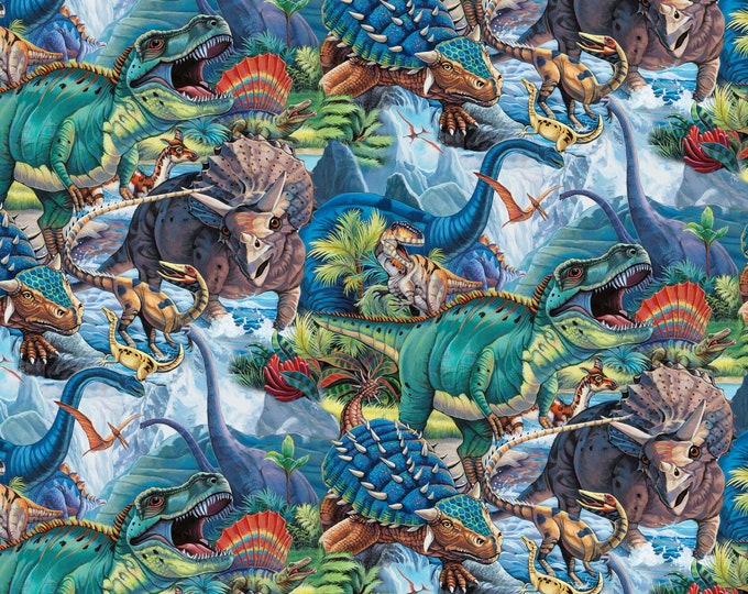 David Textiles - Digital Dinos - AL-3763-9C-1 Multi - Dinotopia - Digitally Printed Cotton Woven Fabric