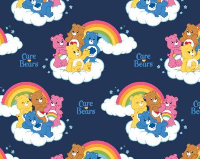 Camelot Fabrics - Licensed Care Bears -  Rainbows on Navy Cotton Woven Fabric