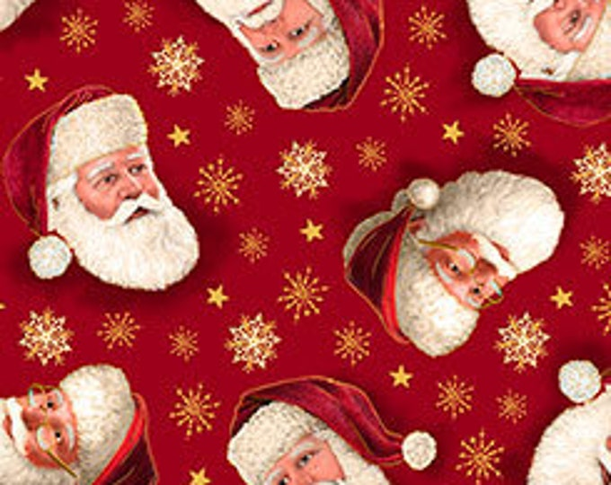 Quilting Treasures - Christmas Eve - Santa Faces Tossed on Red - Metallic Cotton Woven Fabric