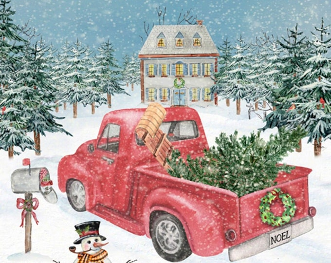David Textiles - Holiday Spirit from Four Seasons - Winterland Red Truck # AL40610C1 - Cotton Woven Fabric