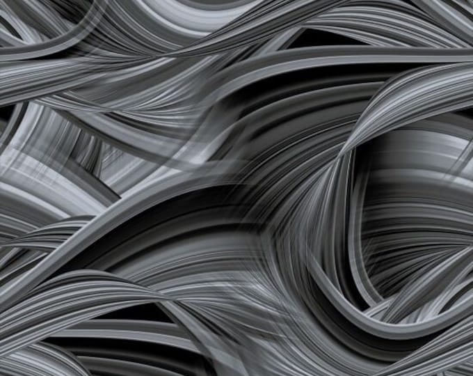 """Blank Quilting - Sedona Waves - Charcoal 9537-95   108"""" Wideback Cotton Woven Fabric"""