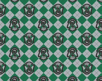 Camelot Fabric - Licensed JK Rowlings Harry Potter - Green Argyle Slytherin Crest on Flannel # 23800123B-1 100% Cotton Flannel