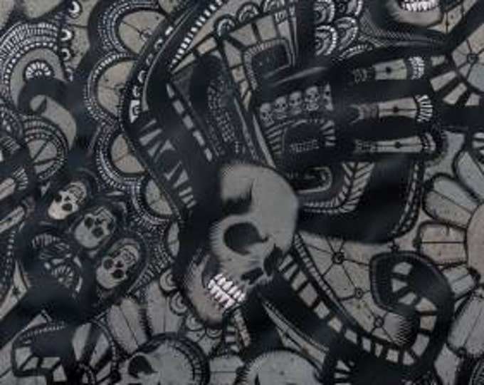 Alexander Henry Fabric - Catacombs Charcoal Cotton Woven Fabric