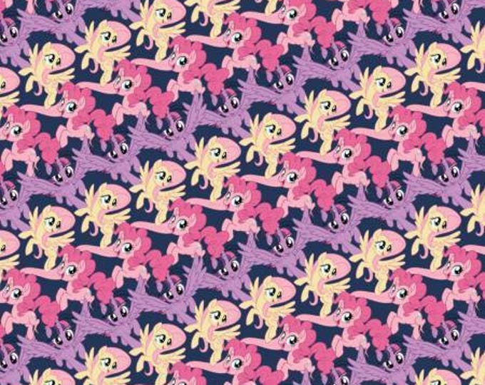 My Little Pony Stripe on Navy Digital Cotton Woven