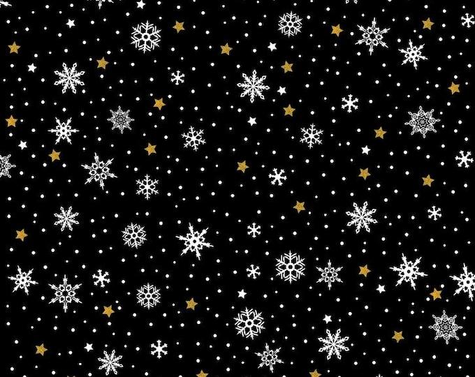In The Beginning - Celestial Winter by Jason Yenter - Snowfall - Black   6ACW-1M Metallic Cotton Woven Fabric