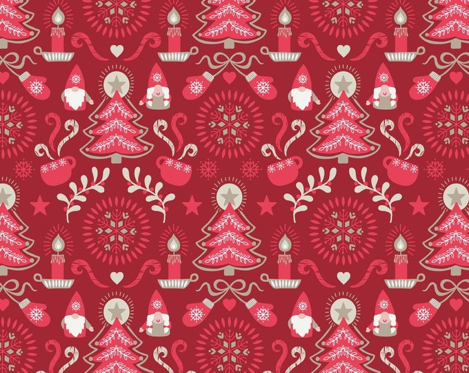 Lewis & Irene - Hygge Christmas - Main Tonttu and Trees - Red  C28.3 Cotton Woven Fabric