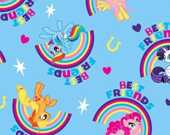CLEARANCE -      My Little Pony Best Friends on Blue Cotton Woven 1 Yard Listing