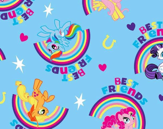 My Little Pony Best Friends on Blue Cotton Woven 1 Yard Listing