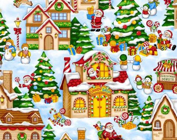 Fabriquilt - Season's Greetings - Snow Santa Scenic Christmas Village Cotton Woven Fabric