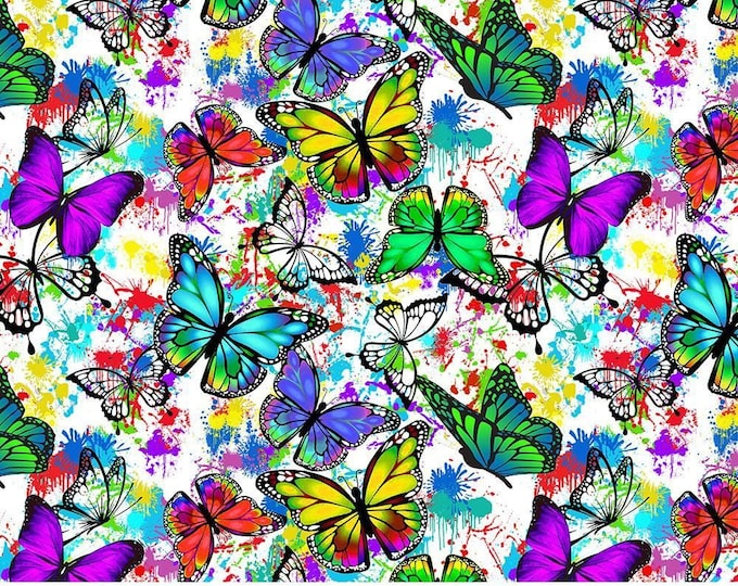 Sykel - Butterflies in Flight -  Butterfly Drops of Color #10345 - Cotton Woven Fabric