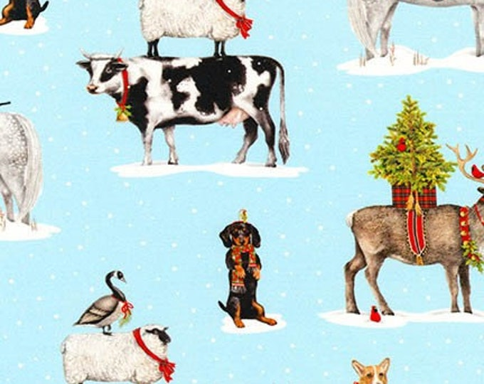 Robert Kaufman Fabrics - Holly Jolly Christmas - Animals in the Snow  AMTAKL-16653-87 Snow Cotton Woven Fabric