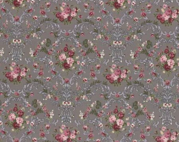 Lecien Fabrics - Rose Life Garden -  Taupe Floral Cotton Woven Fabric