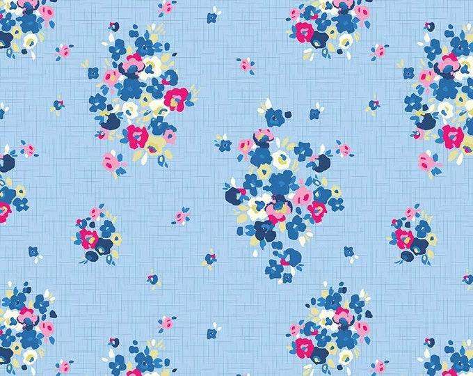Riley Blake Fabric - Blue Carolina Main Light Blue Cotton Spandex Knit fabric
