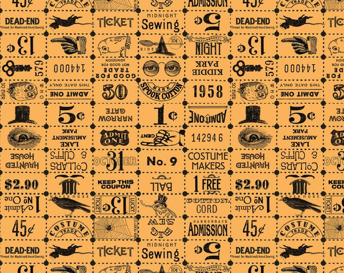 Riley Blake - Costume Makers Ball by Janet Wecker-Frisch - Ticket Grid Orange #C8369R-ORANG Cotton Woven Fabric