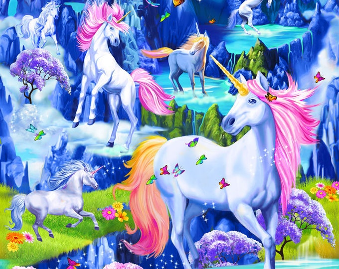 "Majestic Unicorn Magic 24"" Panel Cotton Woven"