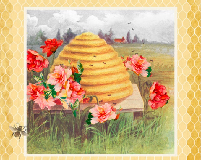 """Studio E Fabrics - Bee Sweet by Ceritto Creek **Limited Release** - 24"""" Bee Hive Panel - 5121P-44 - Cotton Woven Fabric"""