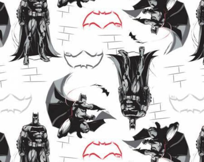 Dawn of Justice, Batman on White Cotton Woven, by Camelot Fabrics
