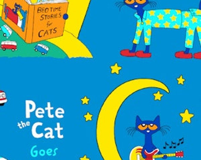 Pete the Cat on blue soft flannel cotton fabric