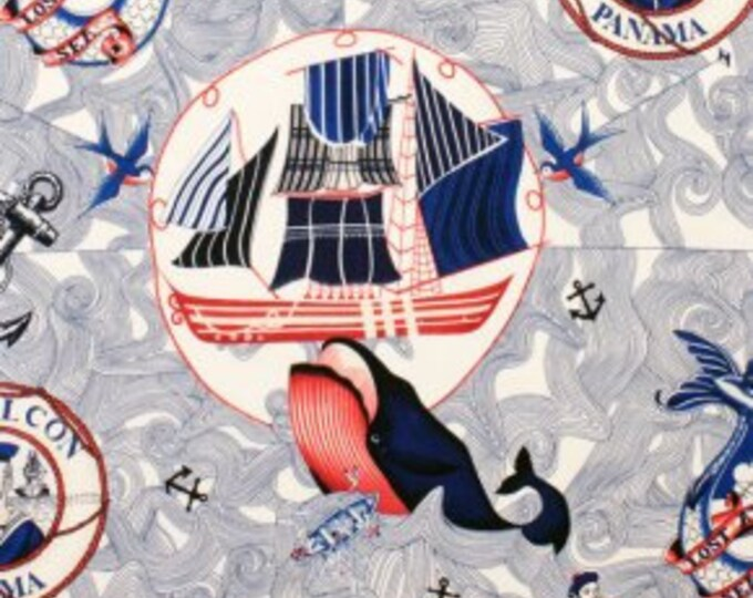 Lost at Sea Tea Cotton Fabric, Alexander Henry