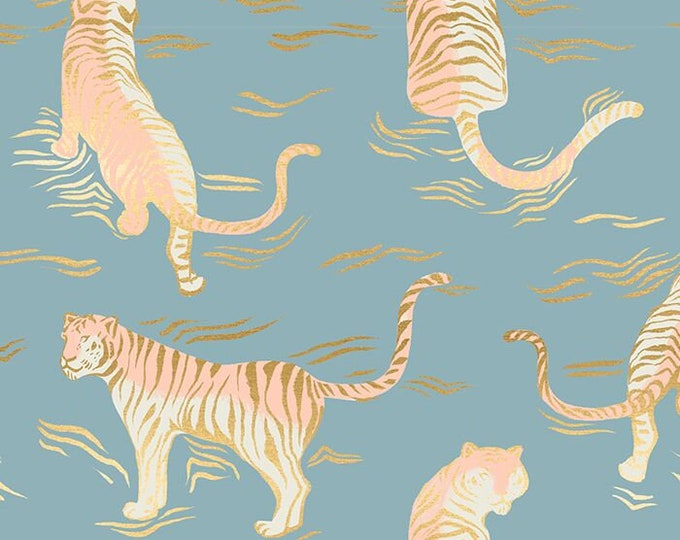 Moda Fabrics - Tiger Fly by Sarah Watts of The Ruby Star Society - #RS2015 12M Soft Blue Metallic - Cotton Woven Fabric