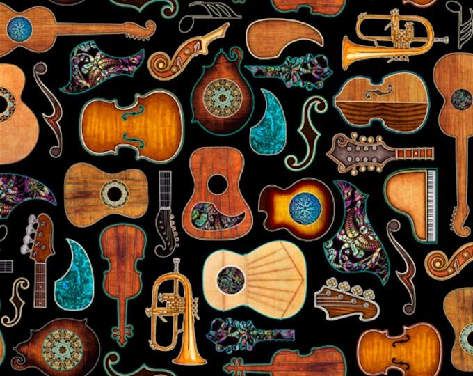 Quilting Treasures - Fine Tuning by Dan Morris - Guitars Black 26847J Cotton Woven Fabric