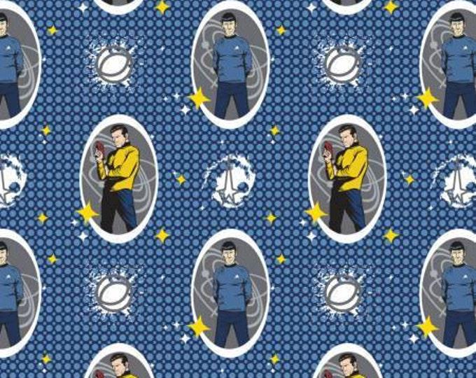 Camelot Fabrics - Star Trek - Navy Star Trek Spock and Kirk Characters Cotton Woven Fabric