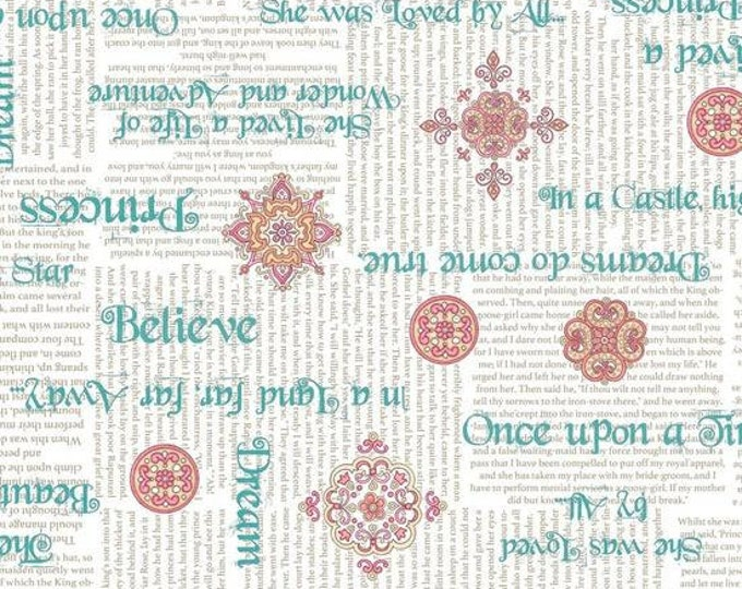 CLEARANCE -       A Royal Princess, Teal Phrases on White Cotton Woven, Quilting Treasures  - Price per yard !