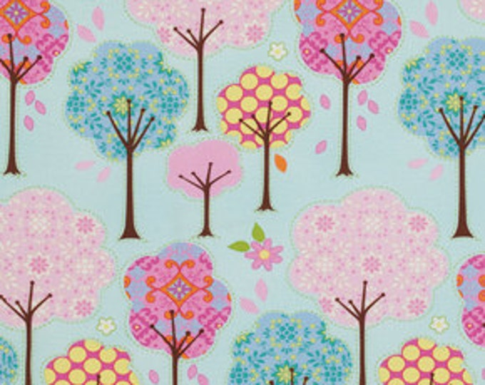 Free Spirit - Dena Designs - Pretty Little Things Trees on Blue Cotton Woven Fabric