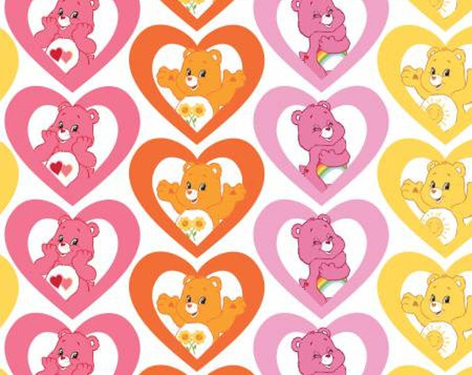 Camelot Fabrics - Licensed Care Bears -  Warm Hearts on Pink Cotton Woven Fabric