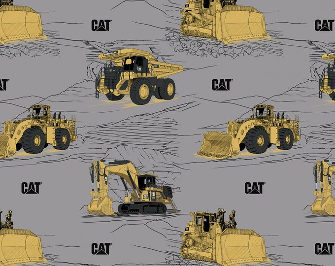 Riley Blake Designs - CAT by Caterpillar - Main Gray # C9100R-GRAY - Licensed Cotton Woven Fabric