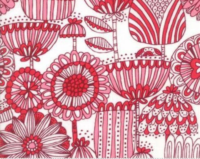 Moda Fabric - Just Another Walk in the Woods - Funny Flower Red on Cream Cotton Woven Fabric