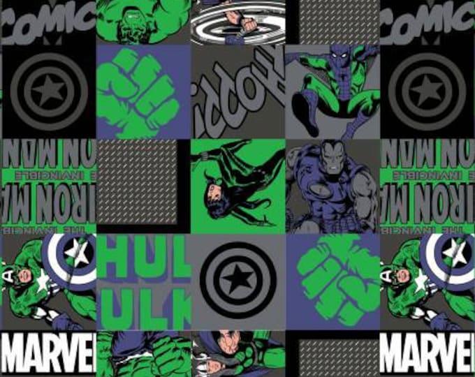 Camelot Fabric - Marvel Retro Comic Avenger Unite -  Hero Blocks - Green - Cotton Woven Fabric
