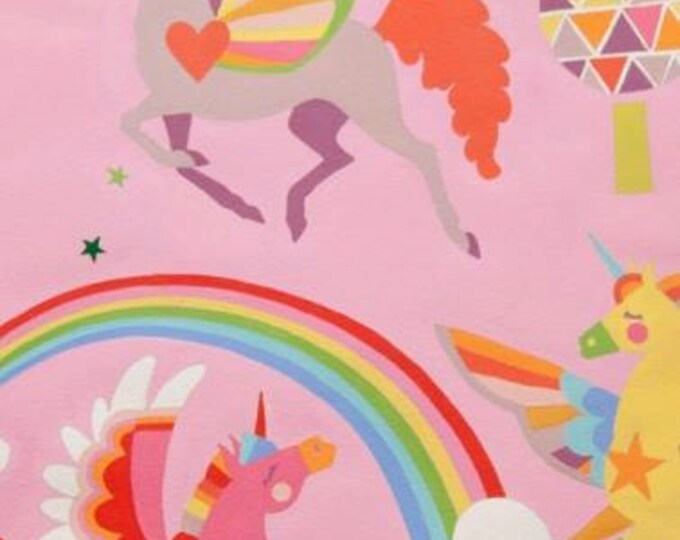 Magic Rainbow Sky Pink with Unicorns Cotton Woven, Alexander Henry
