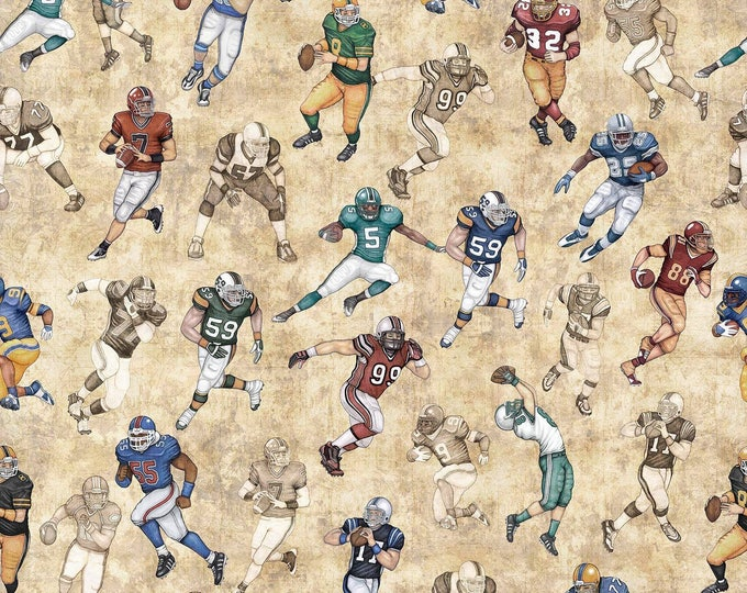 Quilting Treasures - Gridiron -  Players on Natural Cotton Woven Fabric