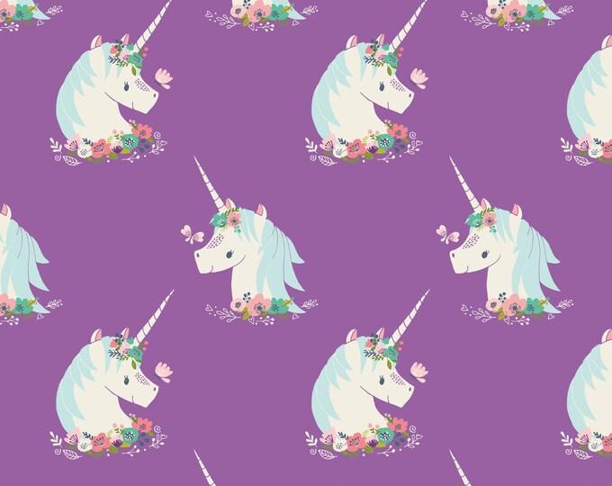 Camelot Fabric - I Believe in Unicorns - Unicorns in Orchid -Cotton Woven