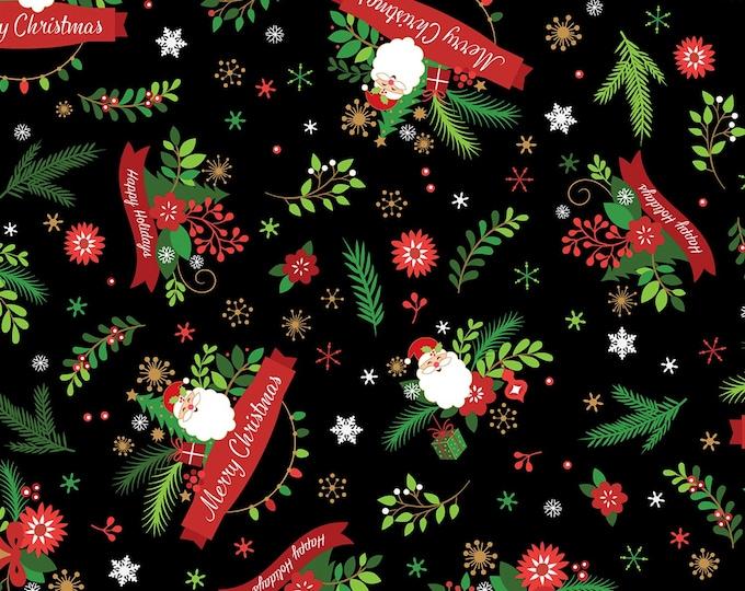 Patrick Lose Fabric - Santa's Stash - Black Seasons Greetings w/Gold Metallic Christmas # 667781100715 Cotton Woven Fabric